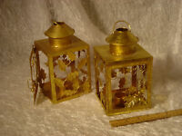 votive candle holders, lanterns, gold, light metal -  two available