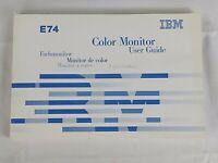 Vintage 1999 IBM E74 Color Monitor User Guide / Manual Booklet Computer Hardware