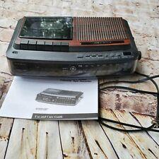 GE 7-4966A AM/FM Alarm Clock Radio Cassette Recorder Vintage