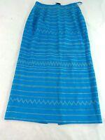 KASPER WOMENS AQUA BLUE EMBROIDERED PENCIL STRAIGHT CASUAL CAREER SKIRT SIZE 8
