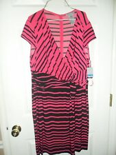 Danny and Nicole Womens Pink and Black Striped Sleeveless Dress Size XL NWT