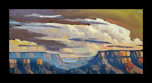 HAWKINS Tonalist Craftsman Western Clouds Impressionism Desert Oil Painting  Art