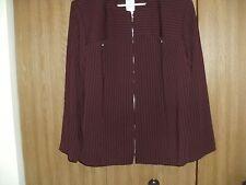 ladies size (18w)john roberts front zip burgundy pin stripe top