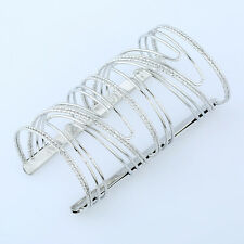High Quality Metal Sliver/Gold Hollow Hoop Open Cuff Wide Bracelet Bangle