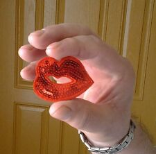 """Lips - Kiss - Love - Lipstick - Red Sequin Iron On Applique Patch - 2""""W"""
