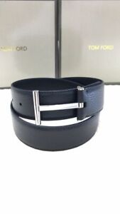 Authentic Tom Ford  black leather reversible T-buckle logo belt
