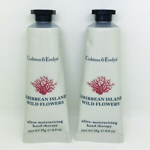 2 X Crabtree & Evelyn Caribbean Island Wild Flowers Hand Therapy Cream 25g