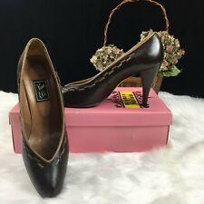 Vintage Vaneli Brown Leather High Heeled Shoes 7.5N