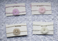 Set of 2 Baby Girls Newborn Mohair Flower & Pearl Tiebacks headband  Photo Prop