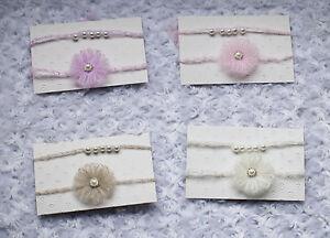 Set of 2 Baby Girls Newborn Mohair Flower & Pearl Tiebacks headband  Photo Prop