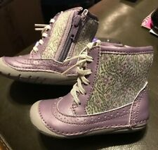 NEW Stride Rite Baby Toddler Girls Boots Purple Gray Flowers Zebra w Sequins 6W