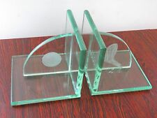Vintage Glass Bookends with Golf Club and Ball Artistically Etched on Glass Ends