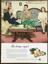 1947 US Brewers Foundation Beer Ad New Beau by Illustrator Douglass Crockwell