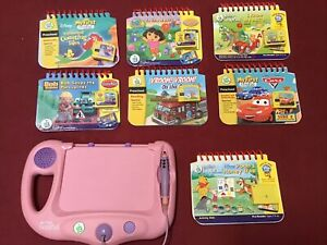 Leap Frog My First Leap Pad Pink Learning System Lot 7 Books and Cartridges EUC