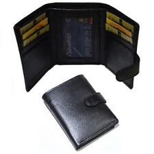Cartera Mini Cuero Negro Real Botones Monedero ranuras para tarjetas regalo presente