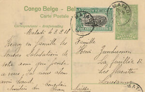 Belgisch Kongo - 1918 - alte Postkarte - echt gelaufen in die Schweiz