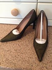 FANTASTIC PACO HERRERO BLACK & GOLD SPARKLY COURT SHOES UK SIZE 3 WORN ONCE