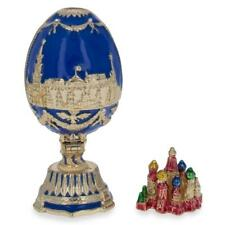 St. Petersburg Blue Enamel Royal Inspired Russian Easter Egg 2.75 Inches