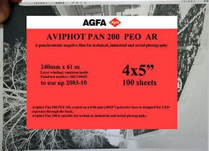 "Agfa Aviphot Pan 200 aerial film 4x5"", 100 sheets"