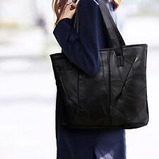 Schwarz Damentasche Shopper Leder Tasche Schultertasche Handtasche Umhängetasche