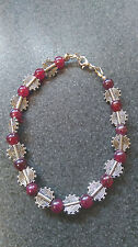red agate bracelet,gemstone,round,silver plated,8 inch,beaded.