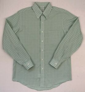 brooks brothers milano fit non-iron tattersall supima button down shirt 16 - 34