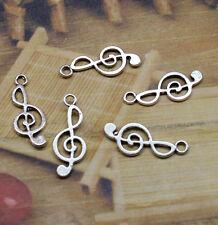 25pcs Exquisite antique silver flower charm pendant fashion musical symbols