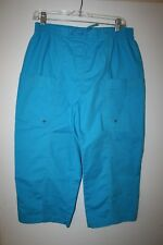 Womens Cotton Polyester Spandex Bright Blue Waist Tie Capris by Alia Size 12