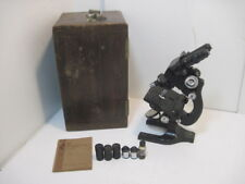 Antique 1926 Spencer Buffalo Microscope 3 Optics Manual Wood Case Key