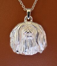Small Sterling Silver Pekingese Head Pendant
