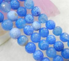 """Faceted 10mm Blue Dream Fire Dragon Veins Agate Round Gems Loose Beads 15"""" AA"""