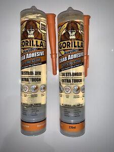 2x Gorilla Glue Heavy Duty Grab Adhesive Mastic Crystal Clear Bond 270ml