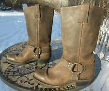 "Frye Woman's 12"" Brown Leather Harness Boots # 77300 / 8 1/2 M / Pre-owned"