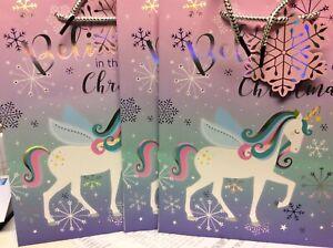 Birthday, Christmas UNICORN MED GIFT BAG (sparkle) x 3    26 x 21 cm
