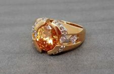 Vintage Sterling Silver Citrine 14K Gold plated ring band size 9