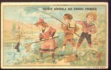 Chromo Cirages français Pêche Pêcheur scène enfantine fishing épuisette marin