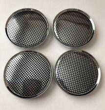 """4 pcs Chrome Carbon Black Wheel Center Caps 63mm/ 2 1/2"""" Fit Jeep Chrysler Dodge"""