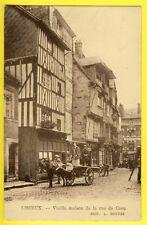 cpa 14 - LISIEUX (Calvados) Rue de CAEN Vieilles Maisons Attelage Commerces