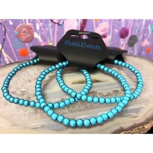 "Miracle glow Bead Stretch Anklets Handmade 9.5"" birthday gift disco Bora Blue"