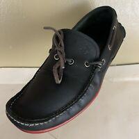 SALVATORE FERRAGAMO Mens Black Leather Loafers Boat Shoes Size 8.5 EX-Wide 2E