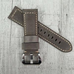 Pour Panerai Luminor Pam 24/22mm Fait à la Main Cuir Gris Bracelet de Montre