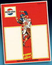 Pepsi Cola Old Football High School Sample Sheet 1965 Rare Bestellmuster