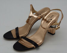 A4571 kate spade new york Women's Copper/Black Ankle Strap Clear Block Heels 7 B