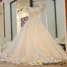 Luxury Blue Pink Flower Wedding Dress Corset Back Bridal Ball Gown Long Train
