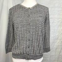 LOFT Women's XL Cardigan Sweater Top Brown White Silver Metallic Snap Front #U