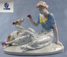 Barsoi porzellanfigur hundefigur figure reichenbach figur windhund mit frau,f