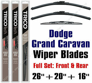 """Dodge Grand Caravan 2010+ Wiper Blades 3-Pk 26""""+20""""+16"""" - 19260/19200/30160"""