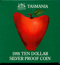 1991 Tasmanian Silver Proof $10 Dollar Coin Attractive