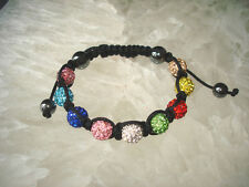 10mm * 9 Disco Balls Premium Crystal  9 Color Shamballa Bracelet Ship From US