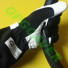 Nomex Leather Racing Driving Gloves BLACK Adult MED SFI 3.3/5 tagged certified